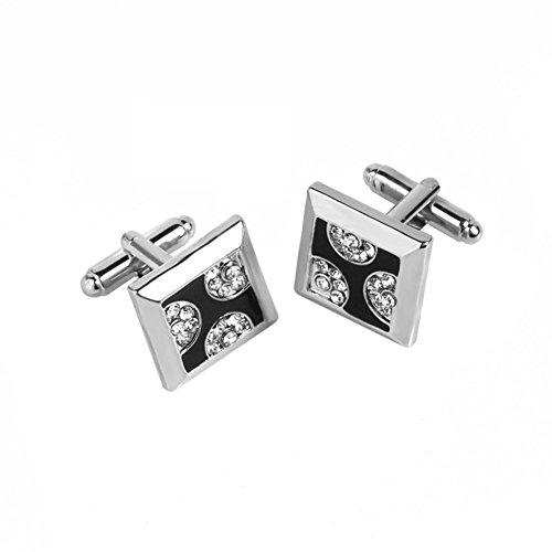 liyhh Fashion Square Alloy Rhinestone Men's Cufflinks Cuff Links Shirt Decor Gift - Silver by liyhh (Image #3)