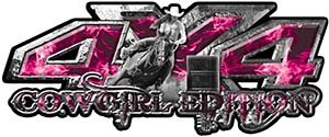 (Weston Ink Cowgirl Barrel Racing Edition 4x4 Pickup Truck Quad or SUV Sticker Set/Decal Kit in Pink Inferno Flames)