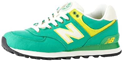 New Balance Women's WL574 Rugby Collection Running Shoe,Green/Yellow,5.5 B US