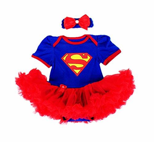 DQdq Baby Girls' Tutu Dress Halloween Costume Blue Superman (Cute Baby Costumes For Girls)