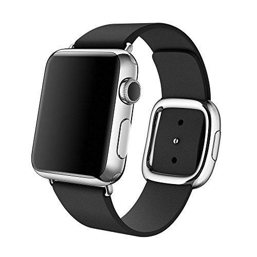 For Apple Watch 38MM, Sunfei Modern Buckle Granada Genuine Leather Band Bracelet - Leather Granada Black
