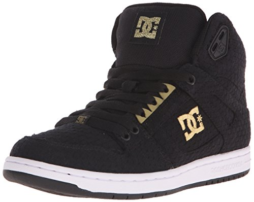 DC Women's Rebound High TX SE Skate Shoe, Black/White/Gold, 5 M US