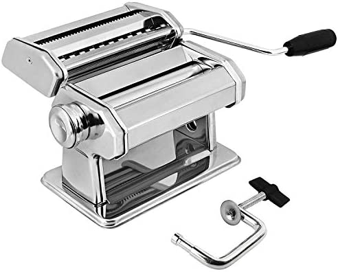 GOURMEX Stainless Steel Manual Pasta Maker Machine | With Adjustable Thickness Settings | Perfect for Professional Homemade Spaghetti and Fettuccini | Includes Removable Handle and Clamp (Silver)