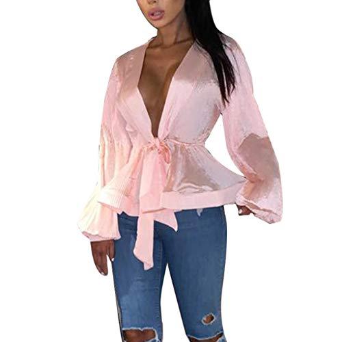POQOQ Tunic Women Deep V Long Lantern Sleeve Casual Tops Blouse Party Peplum Shirt(Pink,M)]()