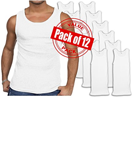 Andrew Scott Men's 12 Pack Color Tank Top a Shirt (Small 34-36, 12 PK- Bright White)