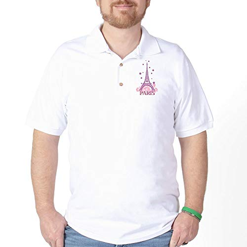 - CafePress Flower Eiffel 03 Golf Shirt Golf Shirt, Pique Knit Golf Polo White