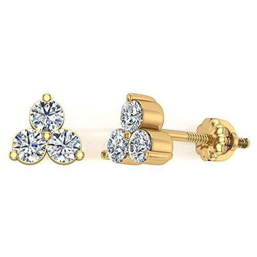 Three Stone Triangle Pattern Diamond Stud Earrings 14K Yellow Gold 0.42 carat total weight (I,SI2)
