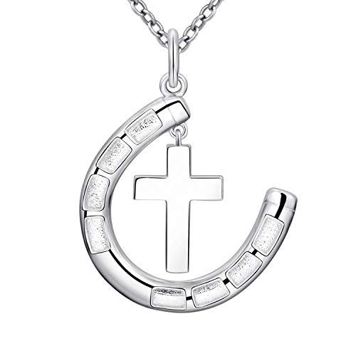 STROLLGIRL Sterling Silver Necklace: Horseshoe Pendant Lucky Charms Jewelry for Girls Women (White)