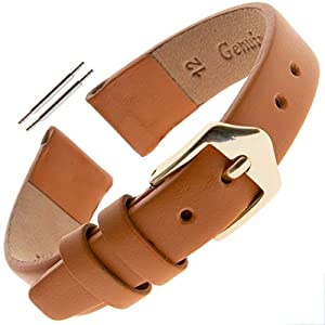 Gilden Ladies 10-14mm Classic Calfskin Fashion Color Flat Leather Watch Band F60