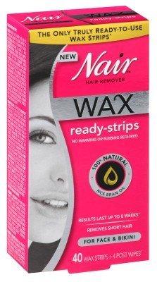 Nair Hair Remover Wax Ready-Strips 40 Count Face/Bikini (2 Pack) (Hair Removal Face For Nair)