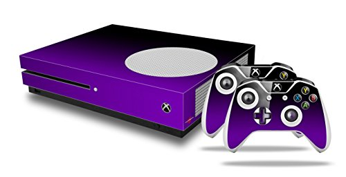 Smooth Fades Purple Black - Decal Style Skin Set fits XBOX One S Console and 2 Controllers (XBOX SYSTEM SOLD SEPARATELY) by WraptorSkinz