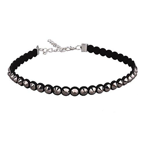 LOHOME Fashion Necklaces Leather Rivet Charm Statement Necklace Choker for Women