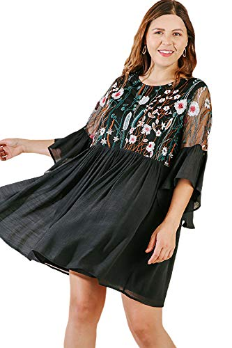 Umgee Boho Bliss! Plus Size Embroirdered Bell Sleeve Dress Plus Size (Black2-Xlarge) -