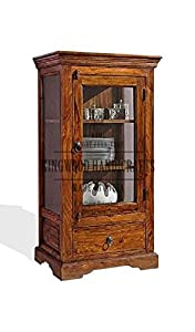 KINGWOOD FURNITURE Sheesham Wood Cabinet with Single Drawer and Honey Finish (Brown)