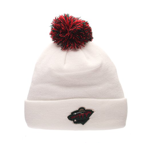 Minnesota Wild White Cuff Beanie Hat with Pom POM - NHL Cuffed Winter Knit Toque (Nhl Pompom Hats)
