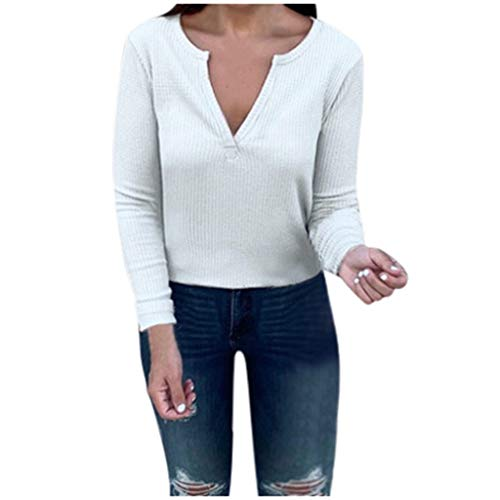 Women's Cotton Sweater,Autumn Winter New Elegant V-Neck Solid Color Fashion Long-Sleeved Blouse Top Plus Size White (Color Chenille)