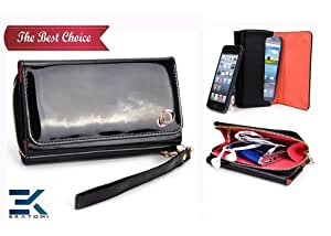 PU Leather Women's Wallet Wristlet Clutch Universal Phone Bag compatible with T-Mobile Move Balance Case - GLOSSY BLACK