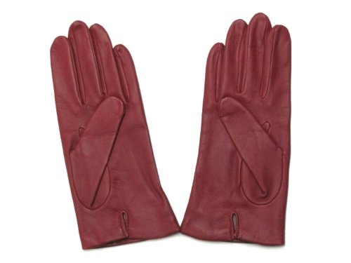 (Fownes Women's Silk Lined Cherry Metisse Lambskin Leather Gloves 6.5/S)