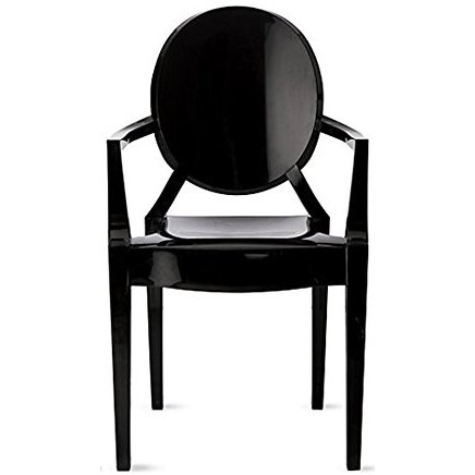 (2xhome Black - Louis Style Ghost Armchair Dining Room Chair - Lounge Arm Arms Armed Chairs Armchairs Accent Seat Higher Fine Modern Mid Century Designer)