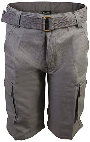 Quad Seven Boys Ripstop Belted Cargo Shorts, Charcoal 1, Size 5' - Boys Carpenter Shorts