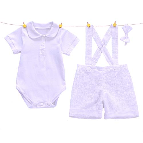 Euro Bear White Baptism Suits for Baby Boy Christening Gown Boys 6 ()