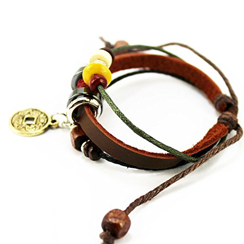 real spark brown leather friendship gift wood beads
