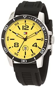 Tommy Hilfiger Men's  1790857 Yellow Dial  Black Silicone Strap Watch