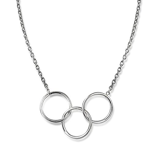 925 Sterling Silver Interlocking Infinite Endless Open Rings Geo Circles Statement Necklace, (Open Circle Link Necklace)
