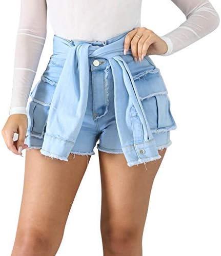 Womens High Waist Denim Shorts Blue High Waisted Hot Pants Plus Size