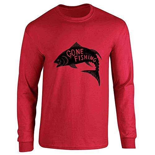 (Gone Fishing Retro Vintage Fisherman Red 2XL Long Sleeve T-Shirt)