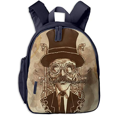 KXJBB Children's Backpack- Casual Oxford Cloth Fashion Steampunk Man Print School Bag with Adjustable Shoulder -