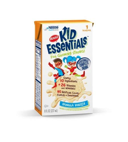 Boost Kid Essentials 1 Cal, Vanilla Vortex, 8 Ounce, by Nestle – Case of 27