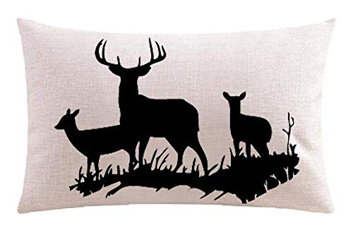 Bnitoam Natural Forest Deer Silhouette Grass Antlers Gift Holiday Cotton Linen Throw Pillow Covers Case Cushion Cover Sofa Decorative Square 12x20 inch Decorative Pillow Wedding