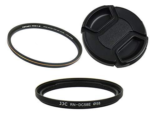 Accessory Kit: JJC JJC RN-DC58E 58mm Conversion Lens Adapter replaces Canon FA-DC58E, 58mm Pro1D MRC Nano HD UV Filter, Lens Cap for Canon PowerShot G1 X Mark II camera