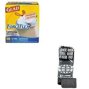 KITCOX70427GMA117000 - Value Kit - Global Material Technologies Industrial-Quality Steel Wool Hand Pad (GMA117000) and Glad ForceFlex Tall-Kitchen Drawstring Bags (COX70427)