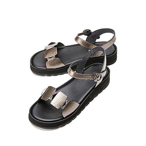 tacco tacco estivi basso con Tacchi donna da a Pantofole 35 DHG piatti casual Sandali Sandali basso alla Grigio moda Sandali alti Z7wqnnApx5