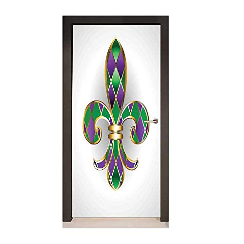 (Fleur De Lis Decor Door Mural Gold Colored Lily Symbol with Diamond Shapes Royalty Theme Ancient Art for Home Decor Gold Purple Green,W17.1xH78.7)