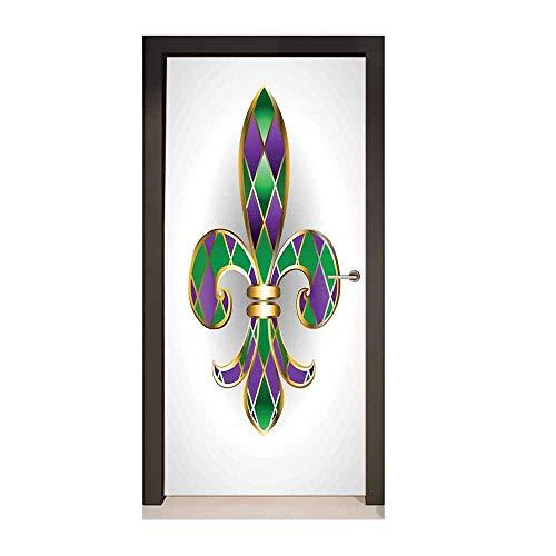Fleur De Lis Decor Door Mural Gold Colored Lily Symbol with Diamond Shapes Royalty Theme Ancient Art for Home Decor Gold Purple ()