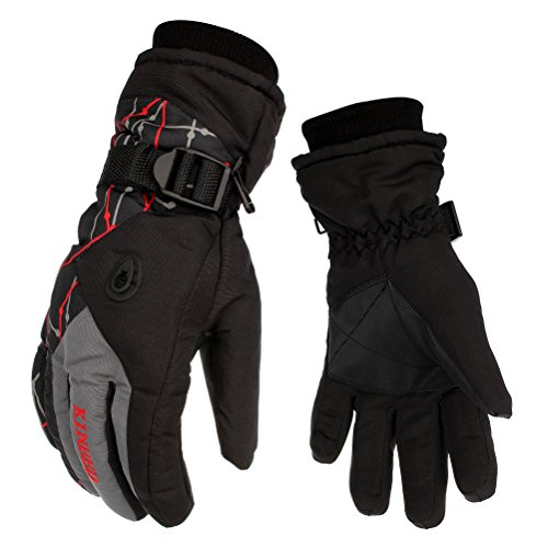 Waterproof Warm Skiing Gloves Windproof-HEYFIT Non-slip Wear-resistant Winter Gloves Cold-proof Comfortable for Motorcycle Cycling Biking Mountaineering Men Women Snowboarding Gloves(Grey, Male)