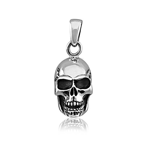 (WithLoveSilver 925 Sterling Silver Charm Skull Head Pendant)