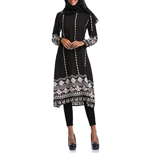 Rucan Muslim Women Islamic Floral Printing Long Sleeves Middle East Long Maxi Dress (A, X-Large) by Rucan