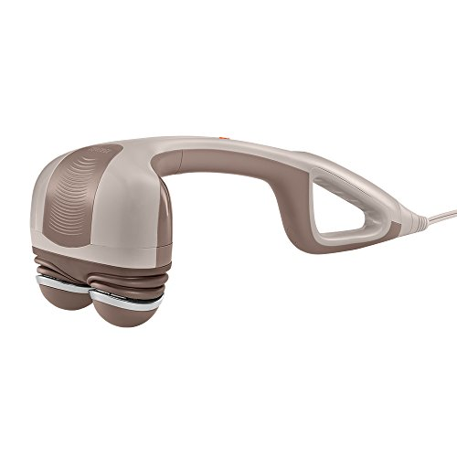 HoMedics Percussion Action Massager with Heat | Adjustable Intensity, Dual Pivoting Heads | 2 Sets Interchangeable Nodes, Heated Muscle Kneading for Back, Shoulders, Feet, Legs, & Neck (Best Handheld Percussion Massager)