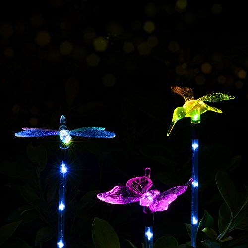Outdoor Solar Garden LED Light – Doingart Solar Powered Garden Stake Light Chameleon Multi-color Changing LED Light, with a White LED Light Stake, Pack of 3 (Butterfly, Hummingbird, Dragonfly)