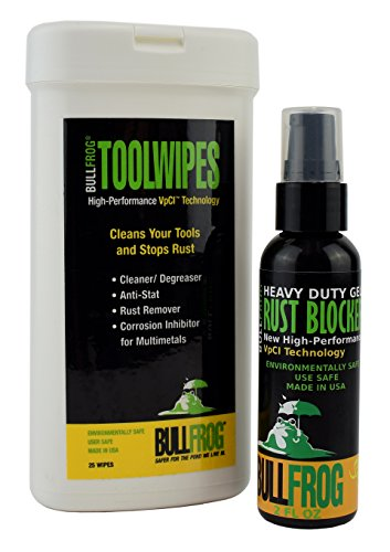 Bull Frog Rust Preventive Tool Wipes/25 Pack & Rust Blocker Gel Kit (2 Oz Sample Bottle) ()