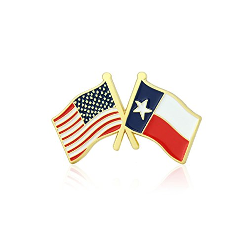GS-JJ American and Texas State Crossed Friendship Flag Enamel Lapel Pin (5 Pack) ()