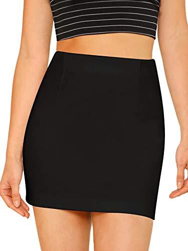 SheIn Women's Basic Stretchy Bodycon Pencil Tube Short Mini Skirt Black Medium