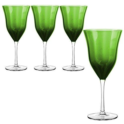 Qualia Glass Meridian Goblet Glass, Clear/Green, 4 Piece