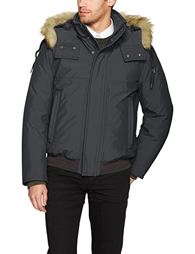 Marc New York by Andrew Marc Men's Boerum Insulated Bomber Jacket With Removable Fur Hood, Magnet Gray, (Andrew Marc Mens Jacket)