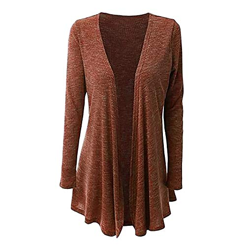 Cardigan for Women, Misaky Autumn Winter Plus Size Long Sleeve Solid Open Front Coat Outwear(Brown,XXX-Large) (Mock Wrap Paisley)