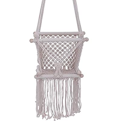 Infant Hanging Swing Seat | Toddler Indoor&Outdoor Hammock Chair, Beige Cotton Rope Weaved Nursery Decor Backyard Toy Set for Girl Birthday Gift (from US, Beige): Kitchen & Dining